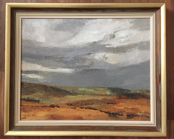 Oil on canvas 'Peat moss Islay' by Perpetua Pope 1916-2013 Scottish artist, teacher and lecturer