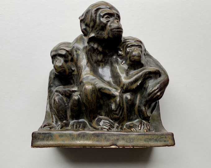 Carter Stabler and Adams Poole pottery monkey group by Hugh Llewelyn circa 1930