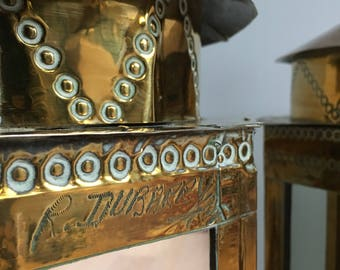Vintage Rodolfo Dubarry brass and white metal overlaid mirrored lamp bases