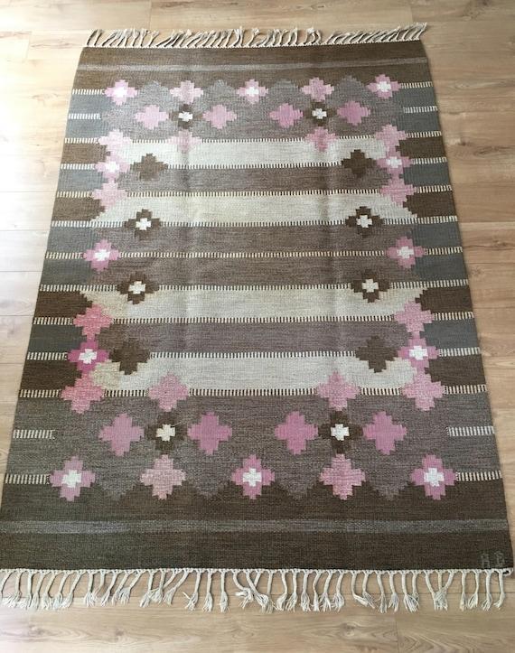 Vintage Swedish rollakan flat weave kelim initialled AB mid-century circa 1960's