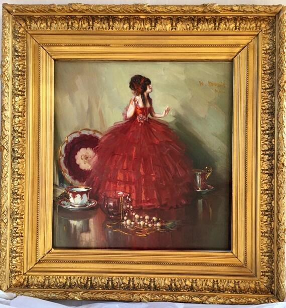 Herbert Davis Richter (British, 1874 - 1955) still life with Doll and tea-set.