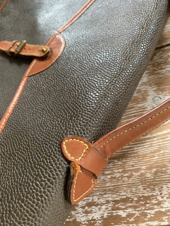 Vintage Mulberry scotchgrain green leather attache briefcase
