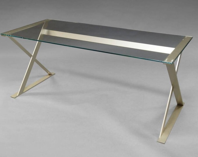 B & B Italia in the manner of Antonio Citterio, with rectangular glass top and grey metal supports