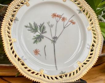 Royal Copenhagen Flora Danica Juliane Marie pierced plate