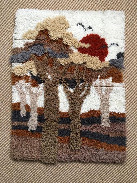 Modernist mid century woollen woven wall hanging of trees and red sun