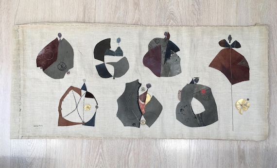 Sten Kauppi (1922-2002) Danserskor or 'Dancing shoes' embroidered panel on linen stitched leather and material 100 x 45 cm