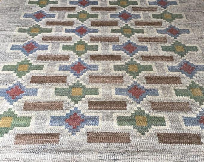 "Vintage Swedish Röllakan or rug called ""Strømmar grå"" designed and made by Judith Johansson circa 1948."