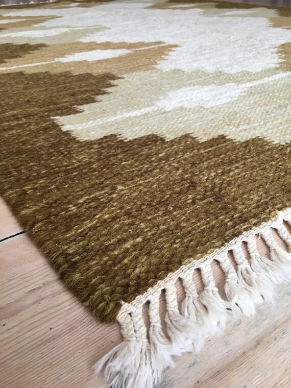 Vintage Swedish Rolakan pure wool kelim flatweave rug 235 x 175 cm