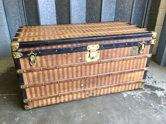 Antique Louis Vuitton Rayee striped steamer trunk 1887