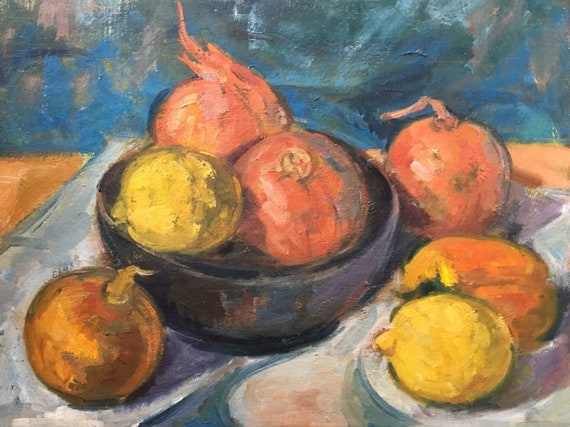 Oil on canvas board still life study of Pomegranates and lemons by Joy Stewart circa 1980's