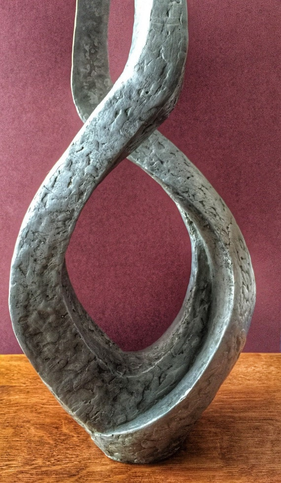 Abstract fibreglass/plaster silvered form by Joy Stewart circa 1970's