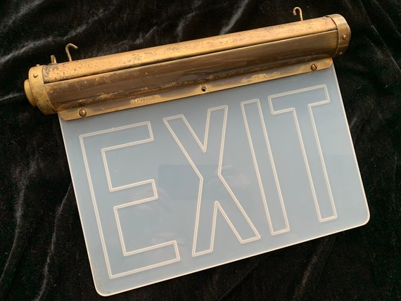 Vintage Flambosign illuminated EXIT theatre cinema sign