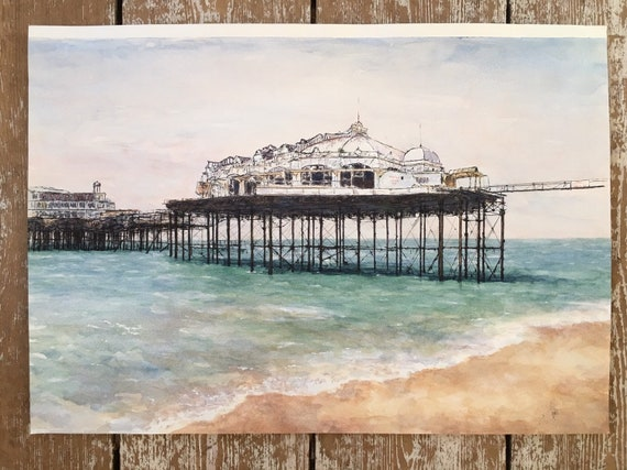 Brighton West Pier in watercolour and ink on paper circa 1990's