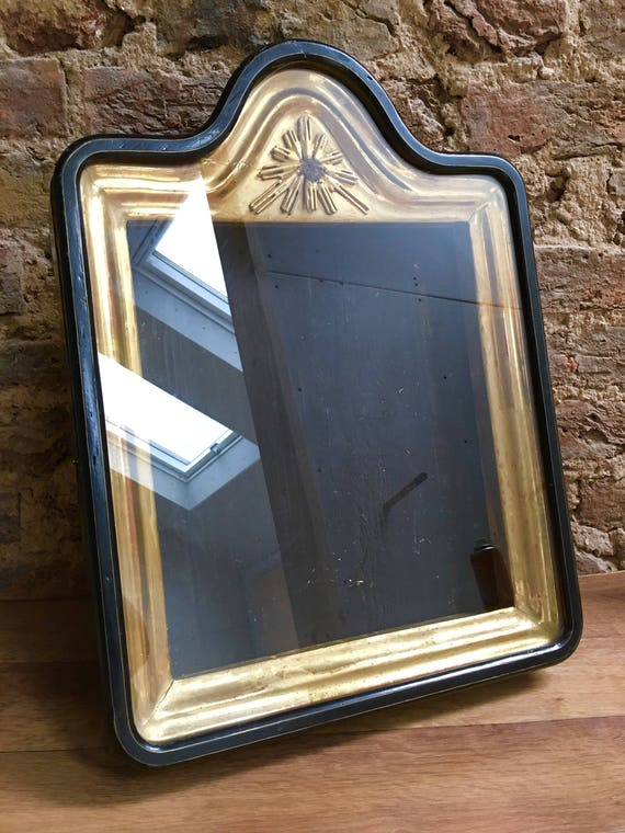 Late 19th century antique Russian ebonised and gilded icon wall cabinet