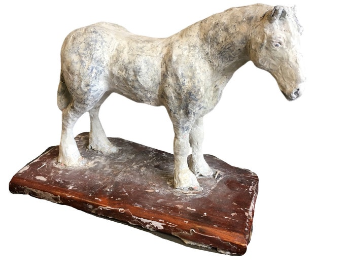 Early 20th century artist's plaster machete of a Shire horse on wood base.