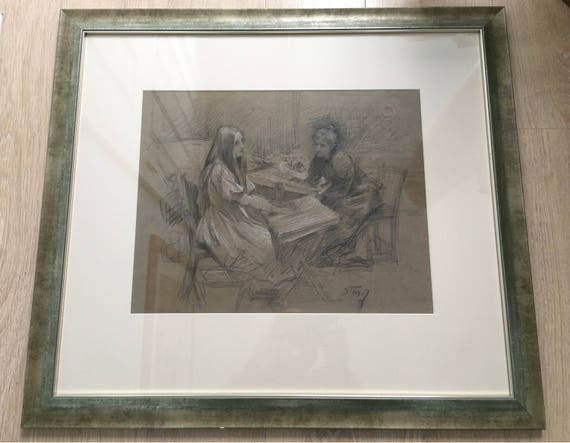 Samuel Melton Fisher RA (1860-1939) 'The convalescent' study in pencil with chalk highlights signed approx 1905 framed and glazed