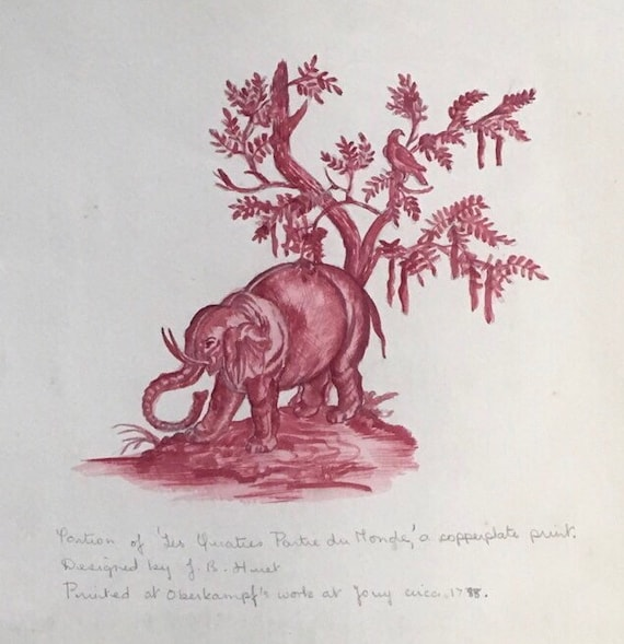 Marie Felicity Angel (1923-2010) pencil and watercolour sketch of Elephant original by Jean Baptiste Huet signed in pencil