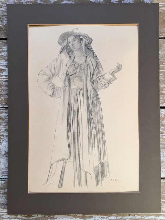 Augustus John RA lithograph approx 1906-10 study of young woman