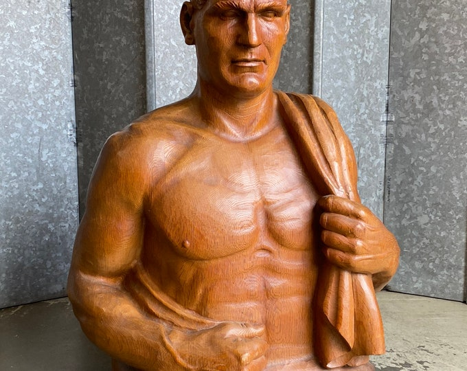 Mid century solid oak life size carved male torso with towel