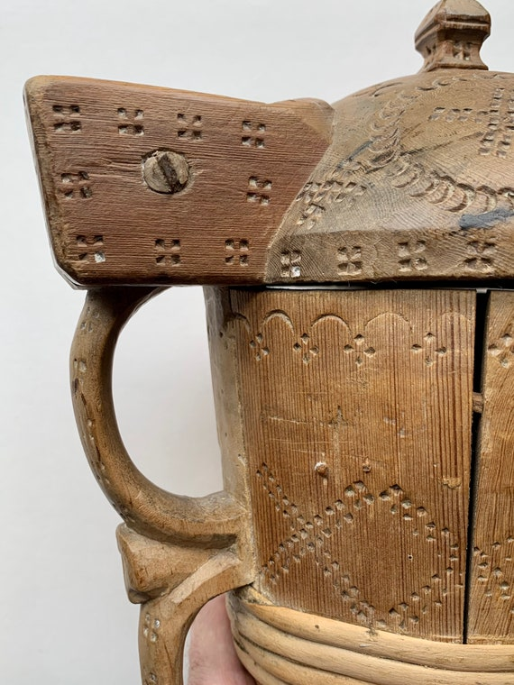 Vintage Swedish carved sycamore and birch wooden tankard