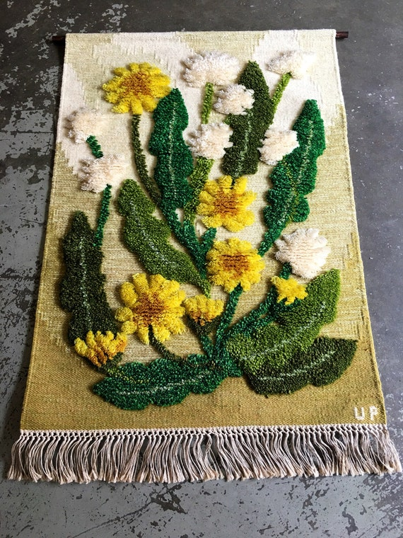 Vintage Swedish wool wallhanging by Ulla Parkdal depicting Dandelions