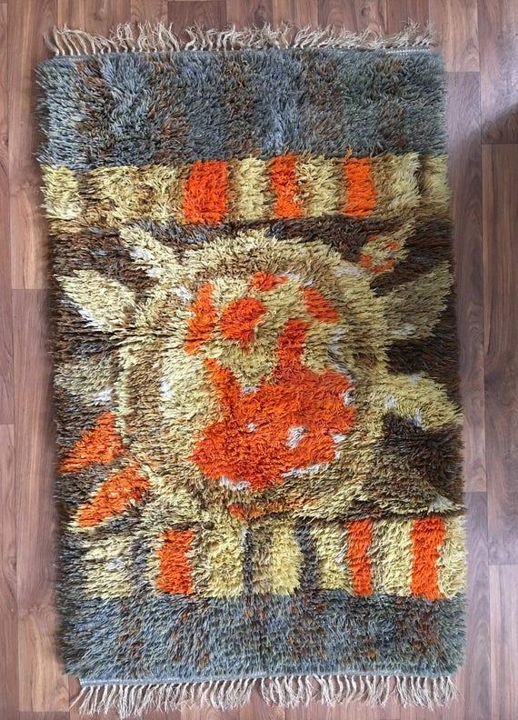 Vintage Swedish ryamatta rug funky circa 1970's