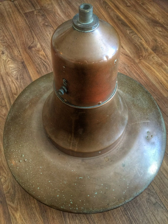 Authentic vintage Dutch mid century copper street pendant lamp