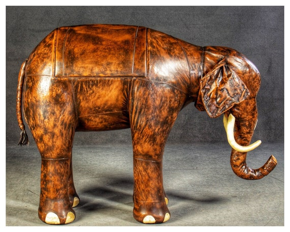 Vintage Dimitri Omersa leather Elephant bar cabinet circa 1960's