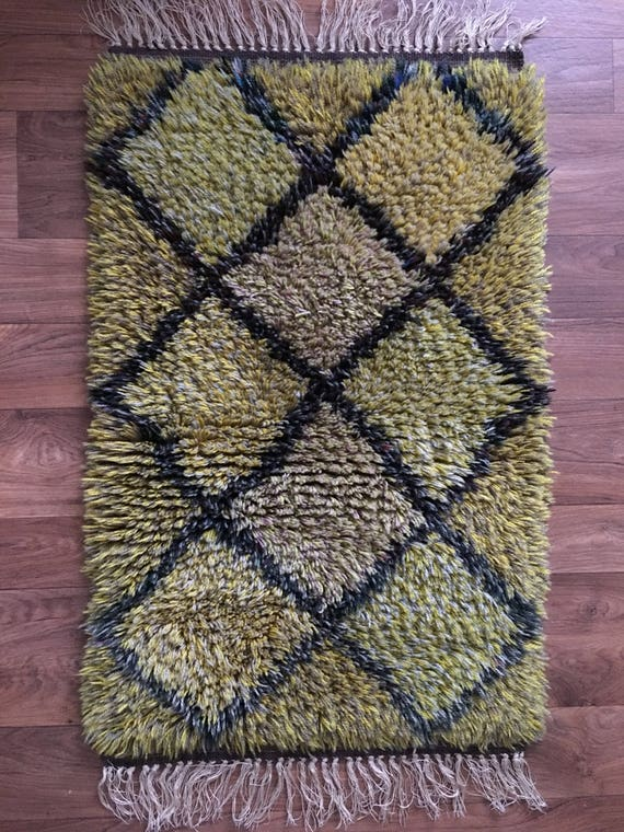 Vintage Swedish ryamatta rug pure wool diamond motif in yellows and greens circa 1970's