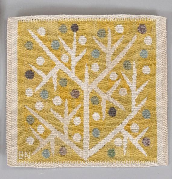 Vintage Swedish tapestry by Barbro Nilsson (1899 - 1983) 'Gul Kvist 32929' for Märta Måås-Fjetterström circa 1957 size 22 x 23.5 cm