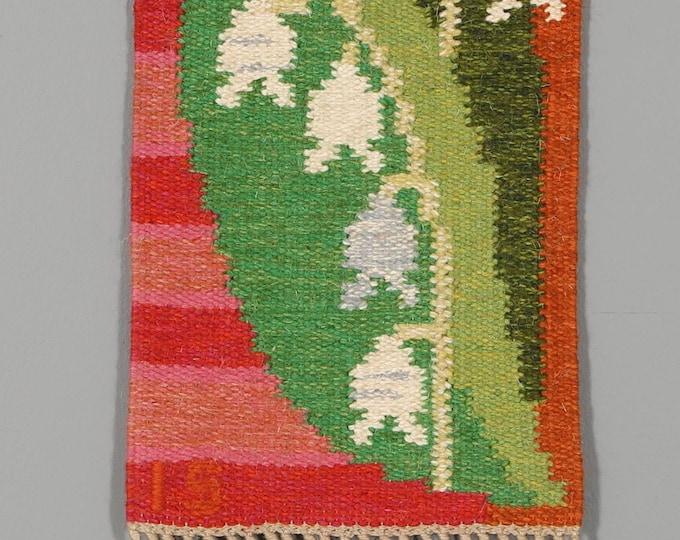 Swedish flat weave wall hanging titled 'Liljekonvalj 2150' Lily of the Valley by Ingegerd Silow, master weaver