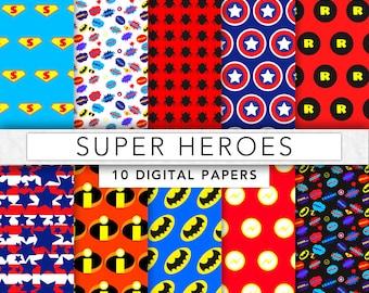 Super hero digital Paper,superhero paper,scrapbook paper,superhero background,instant download - SHP001