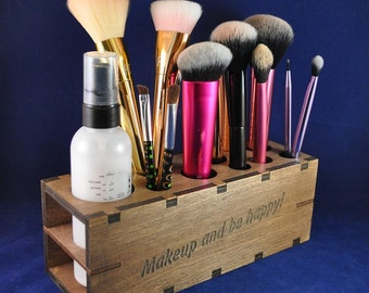 wooden makeup organizer beauty station makeup storage