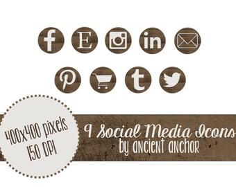 Rustic Social Media Icons - 9 Icons