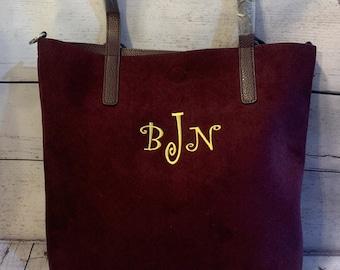 03012c0a832 Tote Bag Burgundy Suede Monogrammed Bags Embroidered Purses Embroidered  Bags Monogrammed Totes Monogrammed Purses Custom Embroid