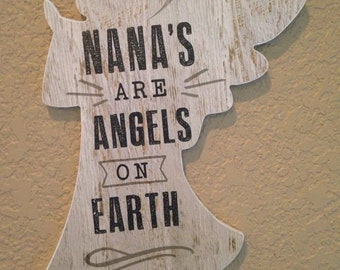 Angel Hanging Wall Plaque  READY TO SHIP     Home Decor   Cross plaque    Cross hanging    Mom    Nana     Nana's are Angels on Earth