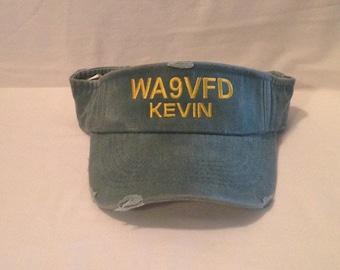 VISORS  Monogrammed visor    Embroidered Visor    custom text hats  caps   custom visors   Adam's Visors   Adam's Hats   distressed visors