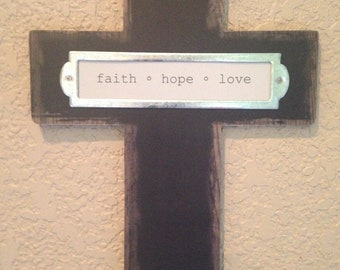 Cross   Faith Hope Love Hanging Wall Plaque  READY TO SHIP     Home Decor   Cross plaque    Cross hanging