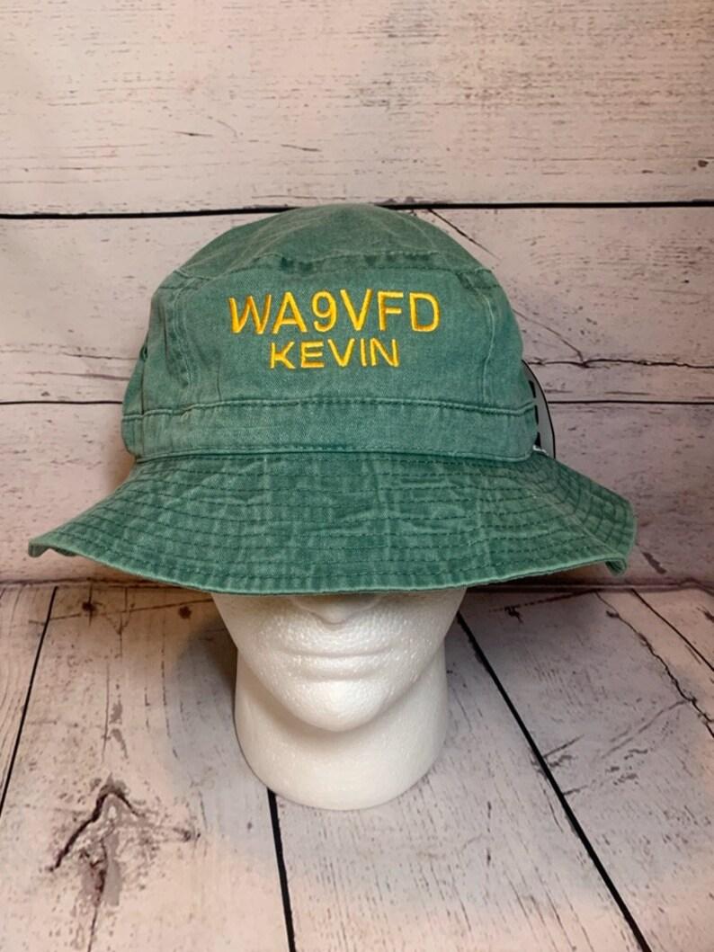04ee38066713f Ham Radio Callsign Bucket Hat Adams Hats Embroidered Bucket