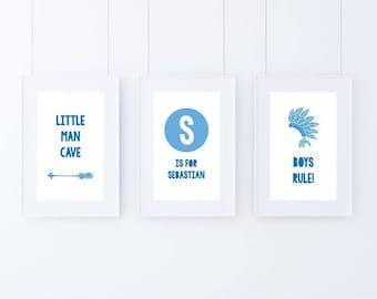 Home Decor - Boys bedroom skyblue A4 Prints