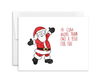 Dirty christmas card etsy i would c more than once a year for you santa inappropriate christmas m4hsunfo