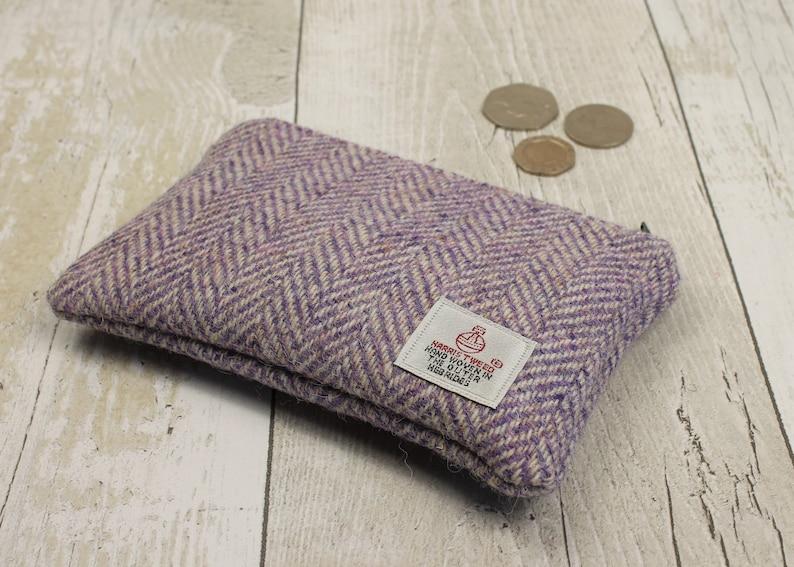 Purple Herringbone Harris Tweed Zip Coin Purse