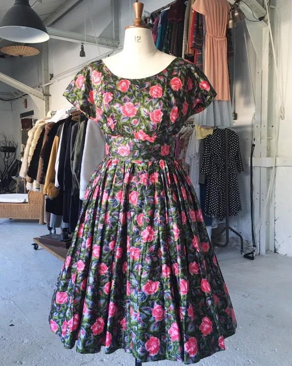 Original Handmade 1950s Floral Swing Dress