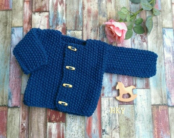 1ac87faec Baby Jacket Baby Cardigan Knitted baby jacket French Blue, hand knitted  babies age 0-3M toggle buttons wool blend yarn Peacock Blue Baby Boy