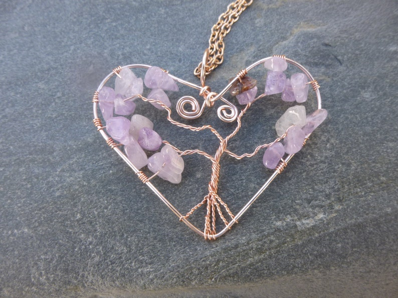 Nature Necklace February Gift Eco Jewellery Amethyst Heart Tree of Life Pendant Necklace Valentines Gift Gift for Mum