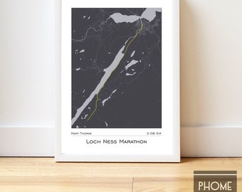 Loch Ness - Marathon Finisher's Print Gifts for Runners - Marathon Gifts