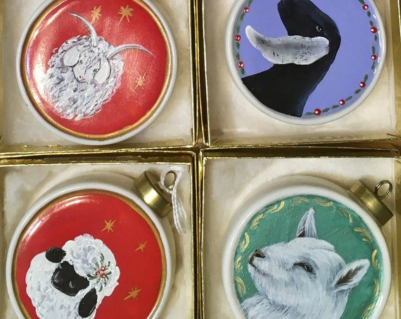 Handpainted Porcelain Ornaments, True One of a Kind, No more once these are sold.  Pick the one you want.