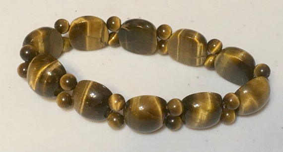 Authentic Tiger's Eye Bracelet on elastic cord, Vintage, Old stock, never worn. 2 variations, each different, sold individually
