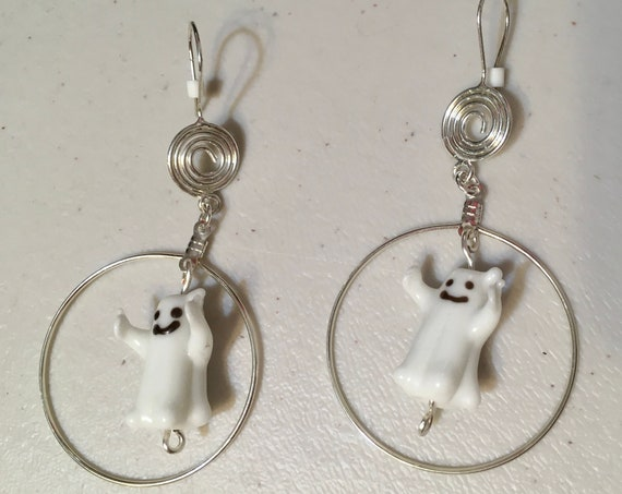 Good Luck Lampwork Ghosts Earrings with Sterling & Silver Plate findings, Spiral Fish Hooks