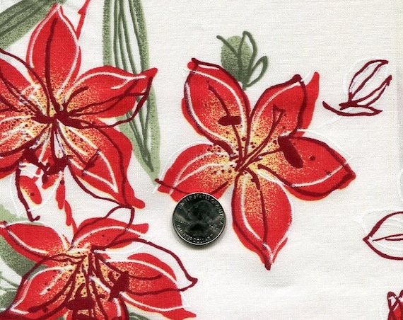 """Made in Italy, Red Flora Linen Blend, See-through fabric, 60"""" wide, 2.5 yards  Extremely Rare"""